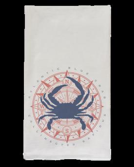 Blue Crab & Compass Flour Sack Dish Towel