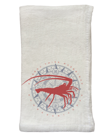 Spiny Lobster & Compass Flour Sack Napkins