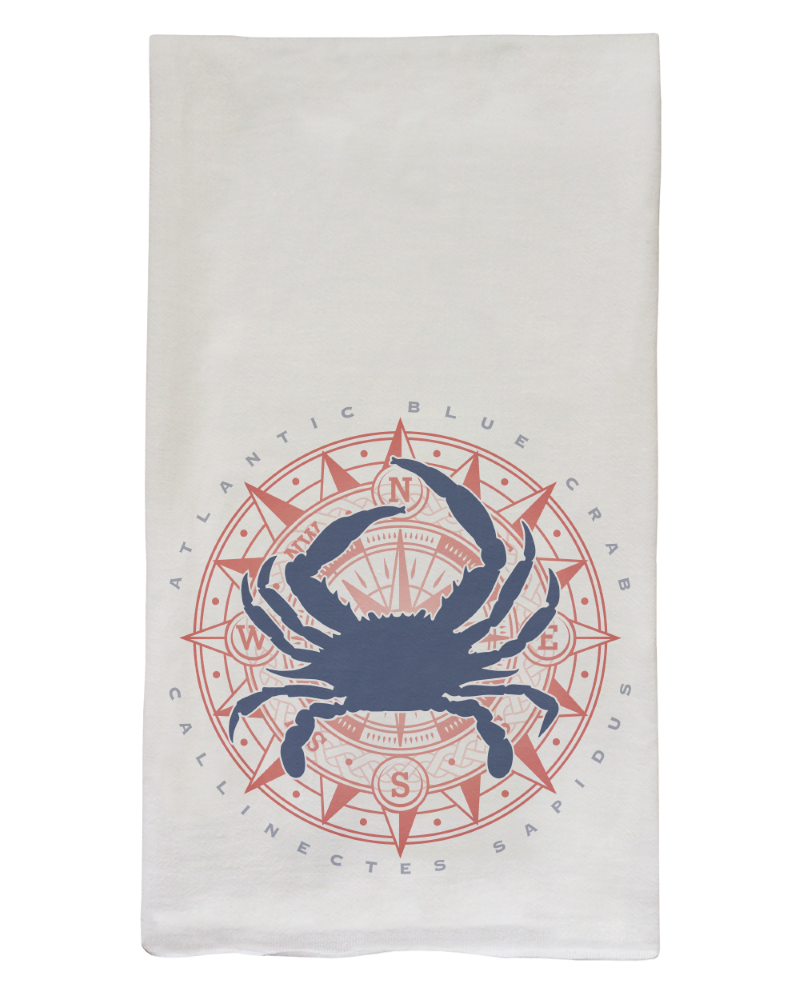 Blue Crab & Compass Flour Sack Dish Towel