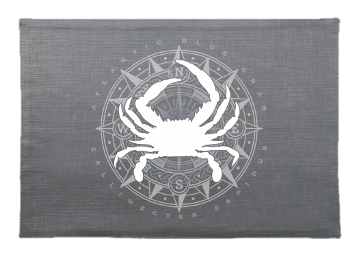 Blue Crab And Compass Linen Placemat